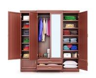 Open closet made of dark wood, clothes. Closet compartment. 3d illustration stock illustration