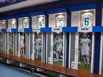 Dressing room in Santiago Bernabeu stadium. MADRID, SPAIN - May, 2018: dressing room on the Santiago Bernabeu stadium for Real Madrid soccer players on May 17 royalty free stock photo