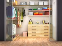 Dressing room with transparent doors. Royalty Free Stock Photos