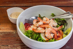 Dressing salad with boiled shrimp Stock Photos