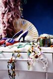 Dressing table. Womans dressing table with lot of fashion accessories stock images
