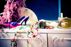 Dressing table. Womans dressing table with lot of fashion accessories royalty free stock images