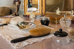 Dressing table accessory. In Victorian bedroom Stock Photos