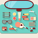 Dressing table with cosmetics. Top view Royalty Free Stock Photography