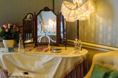 Dressing table. Details in Victorian bedroom stock photography