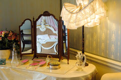Dressing table. Details in Victorian bedroom Stock Images