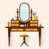 Dressing table with Make Up vector Stock Images