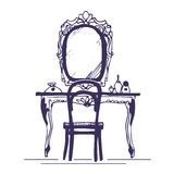 Dressing table and mirror Royalty Free Stock Photos