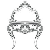 Dressing table with mirror in classic baroque style. With luxurious ornaments. Vector sketch stock illustration
