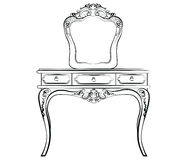 Dressing table with mirror. In classic style. Vector sketch royalty free illustration