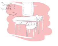 Dressing table and mirror. Hand drawn sketch illustration Royalty Free Stock Photo