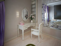 Dressing table near large mirror Royalty Free Stock Photography