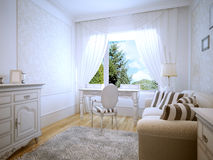 Dressing table in provence bedroom. A bright room with a large panoramic window. White simple table with drawers. 3D render Stock Photo