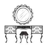 Dressing table silhouette. Vector illustration isolated on white background. Vintage Gothic style dressing table and chair furniture. Hermitage decorated Royalty Free Stock Photography