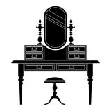 Dressing table silhouette. Vector illustration. Royalty Free Stock Photos