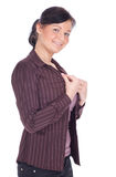 Dressing young woman with brown blouse Royalty Free Stock Photography