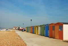 Dressingrooms, das auf den Strand wartet Stockbild