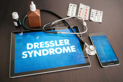 Dressler syndrome (heart disorder) diagnosis medical concept on. Tablet screen with stethoscope royalty free stock image