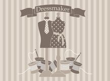 Dressmaker. Illustration of dressmaker with mannequins Royalty Free Stock Photography