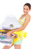 Dressmaker carrying tool box Stock Photo