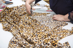 Dressmaker cutting fabric Stock Photo