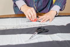 Dressmaker design tailor pattern on the table Royalty Free Stock Image