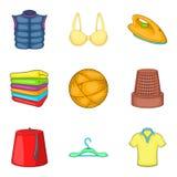 Dressmaker icons set, cartoon style. Dressmaker icons set. Cartoon set of 9 dressmaker vector icons for web isolated on white background Stock Images