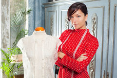 Dressmaker with mannequin working at home Royalty Free Stock Image