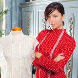 Dressmaker with mannequin working at home Royalty Free Stock Images