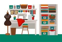 Dressmaker modiste salon workplace or atelier vector flat interior. Dressmaker modiste salon or atelier tailor parlor workplace interior. Vector flat sewing Stock Photo