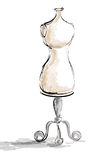 Dressmaker's Dummy. This is an illustration of a clothing bodice, used in the fashion industry royalty free illustration