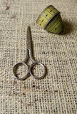 Dressmaker scissors and meter tape Stock Images