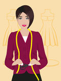 Dressmaker. Seamstress with scissors and mannequins in the background royalty free illustration