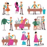 Dressmaker set, male designer tailoring, measuring. And sewing for his customers cartoon vector Illustrations on a white background Stock Photos