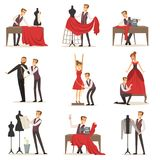 Dressmaker set, male designer tailoring measuring and sewing for his customers vector Illustrations. On a white background Royalty Free Stock Image