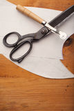 Dressmaker shears with tailor cuts and powl craft on wo Stock Images