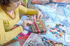 Dressmaker working on her patchwork Royalty Free Stock Images