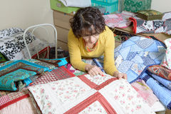Dressmaker working on her quilt Royalty Free Stock Photography