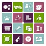 Dressmaking, knitting and embroidery icons Royalty Free Stock Image