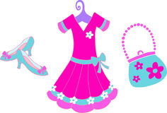 Dressup Illustration. Dress and Accessories Illustration on white background Royalty Free Stock Photography