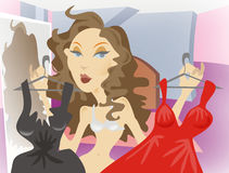 Dressy woman illustration. Illustration of woman deciding on which dress to wear Royalty Free Stock Image