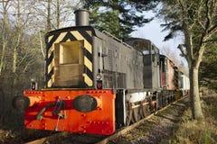 Drev för ångamotor på gammal järnväg på stationen i lantlig bygd Royaltyfri Foto