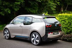 Drev för BMW i3 e-drev 2014 prov Arkivbilder