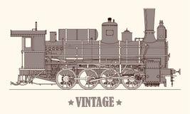 Drev för lokomotiv för ånga för tappningtecknad filmhand utdraget också vektor för coreldrawillustration royaltyfri illustrationer