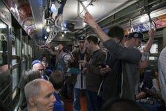 Drev för tappning för låg spänning för Yankeefanritt till stadion för openin Arkivbild