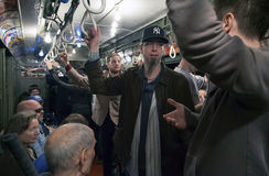 Drev för tappning för låg spänning för Yankeefanritt till stadion för openin Royaltyfri Bild