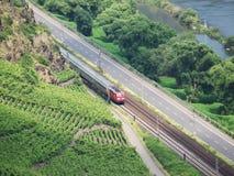 Drev i den Moselle dalen som kör till och med vingårdar Arkivfoto