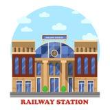 Drev och järnväg, järnvägstation eller bussgarage stock illustrationer