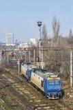 Drev och järnväg i Bucharest Arkivfoton
