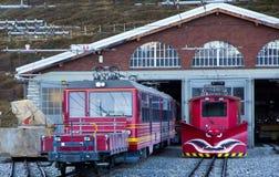 Drev på den Kleine Scheidegg stationen Arkivbilder